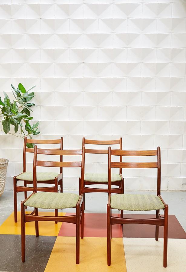 Juego de sillas años 60-teca-vintage-duth design-lavictoriana-restauradas